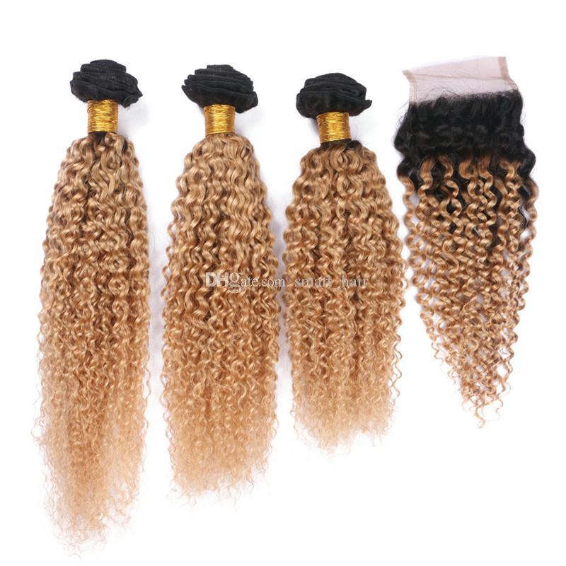 8A Ombre Kolor Kinky Kręcone Wiązki Włosów Z Koronką Zamknięciem Dwa Tone 1B 27 Włosy Włosy z góry Zamknięcie 4 sztuk / partia