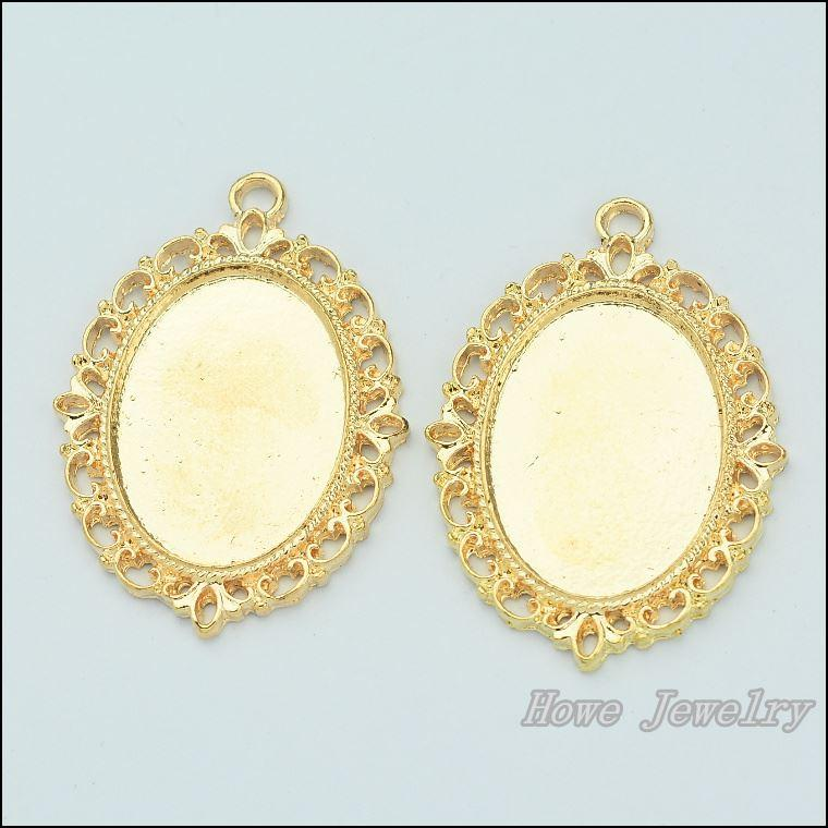 Online Cheap Quality Champagne Gold Oval Frame Alloy Pendant Charm ...
