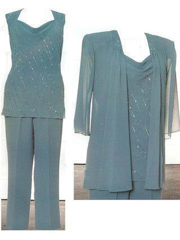Pas cher Plus La Taille Mère De Mariée Pantalon Costumes 2019 Moderne À Manches Longues Perles En Mousseline De Soie V Cou Robe De Soirée Encre Bleu Formelle Robes
