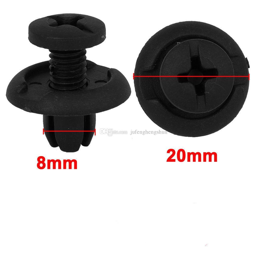 New Car Fastener 8mm Hole Black Plastic Rivet Retainer Clips for Splash Guard Panel Hood Fender Bumper for Honda Universal