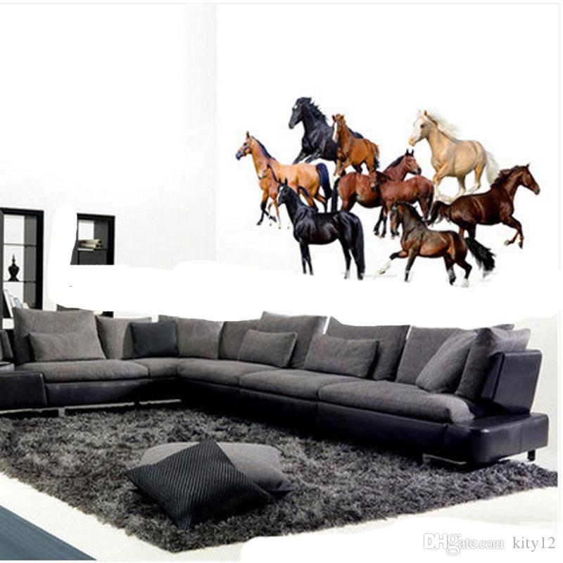 Wholesale New Modern 3D Wallpaper Horse Luxury Creative Bedroom Living Room TV background Wall Stickers