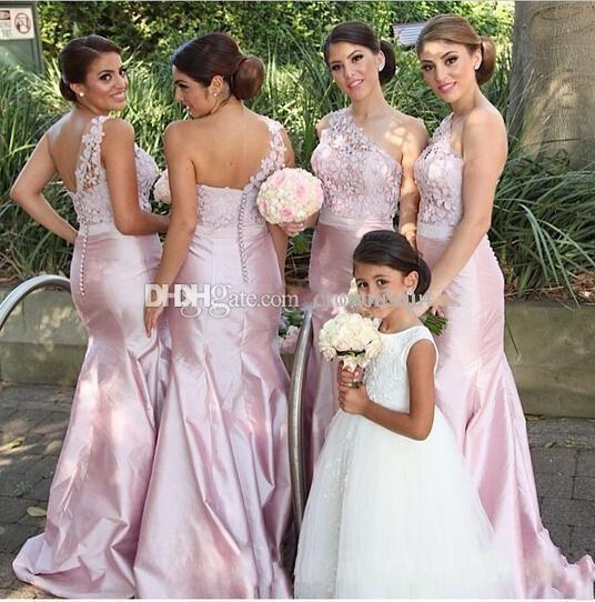 Sexy sirena di pizzo rosa abiti da damigella d'onore una spalla taffettà backless 2019 abiti da sera da sera formale personalizzati damigella d'onore damigella d'onore economici