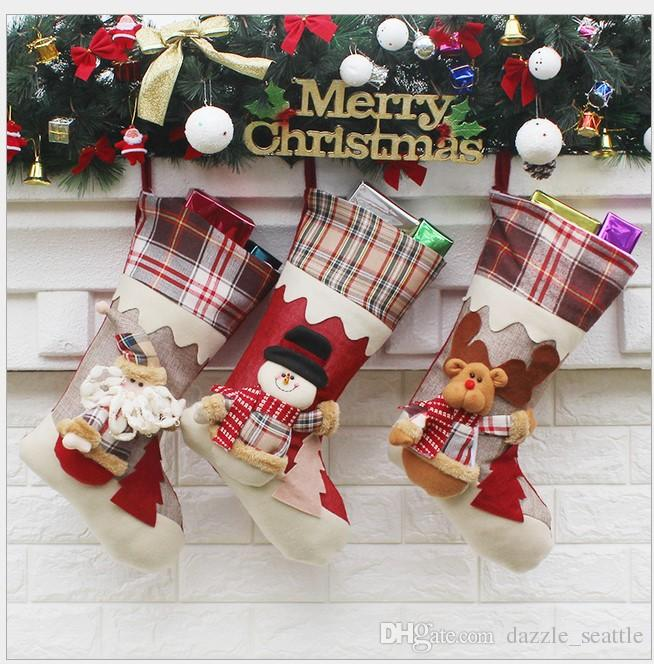 top cotton plaid christmas stockings santa christmas stocking christmas decoration wedding candy socks bags xmas boots stocking for children christmas - Plaid Christmas Stockings
