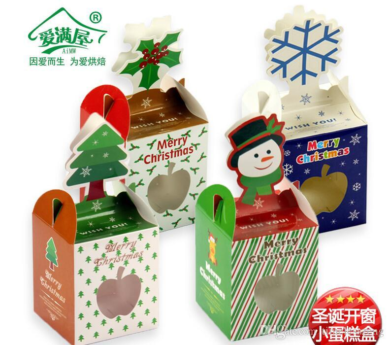 2016 christmas series cupcake boxes biscuit packing box 10piece=1bag more style size 8.5*8.5*20cm Baked pastry candy gift box