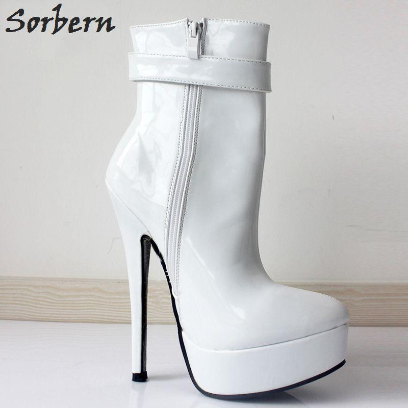 "Sorbern 2017 Women Ankle Boots 18cm/7"" Ultra High Heels Sexy Woman Platform African Shoes for Women Female Botas Feminina"