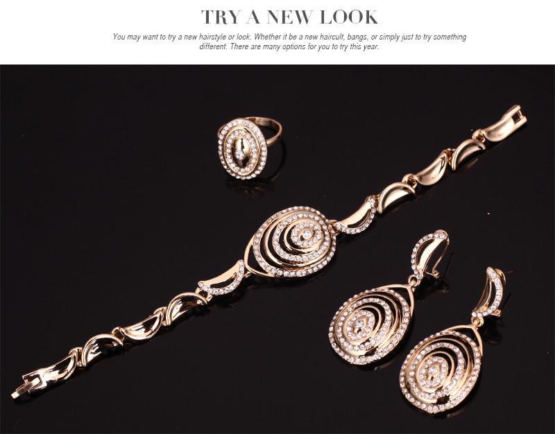 Afrikanische Perlen Schmuck Sets 18K Gold Überzogene Österreichische Kristall Braut Hochzeit Zubehör Halskette Armband Ohrringe Ringe Set