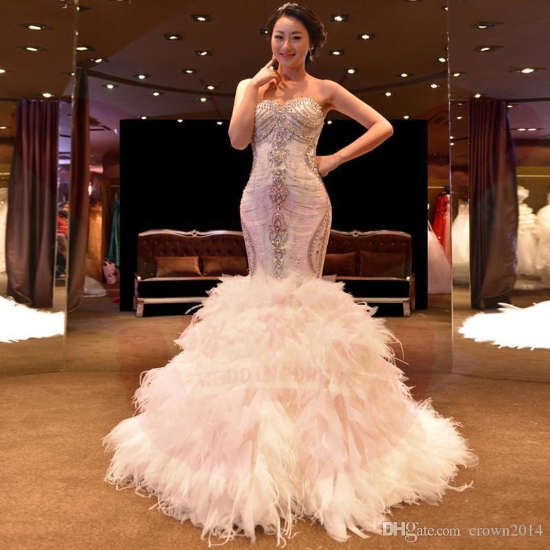 Vestido De Noiva De Cristal Branco Sereia Vestidos De Casamento De Luxo Da Pena Do Avestruz Vestidos De Casamento Sexy Marfim Vestido De Noiva 2019 Robe De Mariage