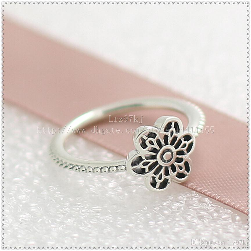 Moda jóias anel mulheres anel estilo europeu de alta qualidade 100% 925 esterlina prata floral margarida rendas rendas