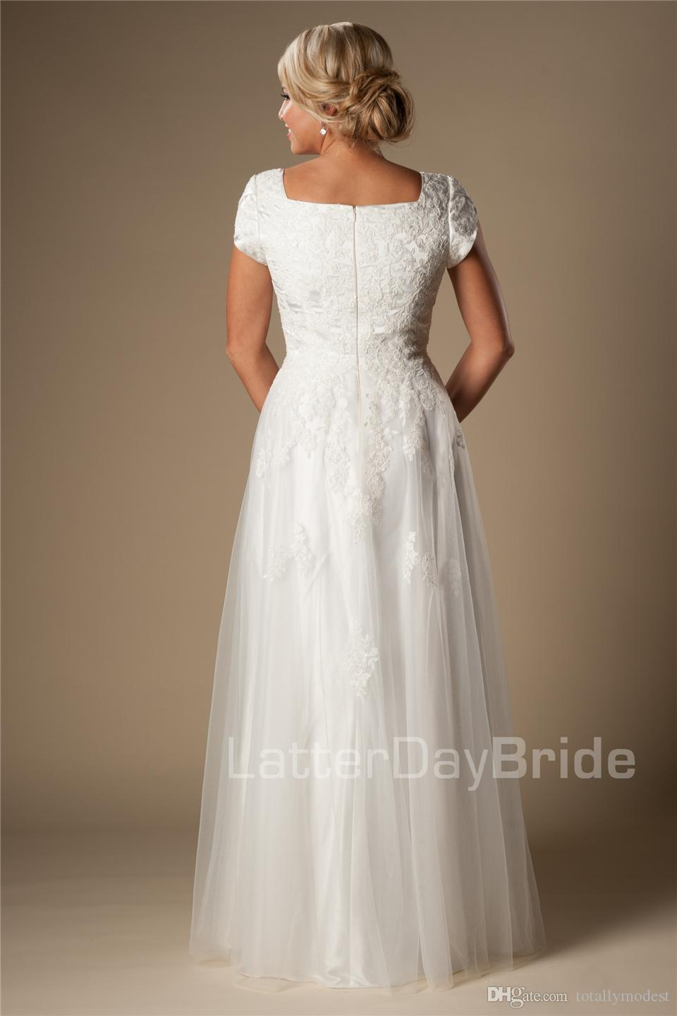 Ivory Lace Tulle Modest A-line Wedding Dresses With Cap Sleeves Queen Anne Neck Bridal Gowns A-line Long Floor Reception Wedding Gowns