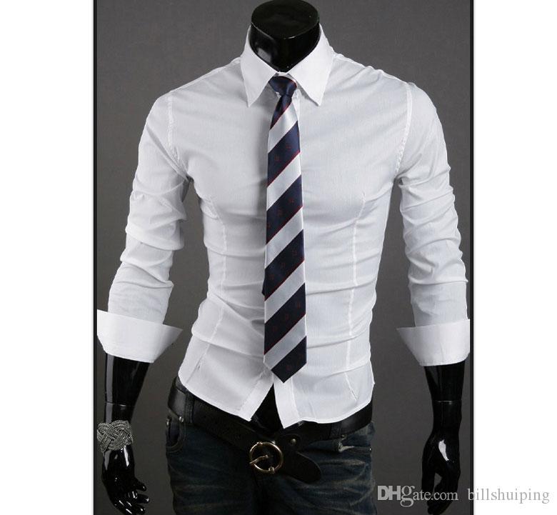 Livraison Gratuite Mens Slim Fit Décolleté Unique élégant Men's Dress Long Sleeve Shirts Hommes Vêtements chauds