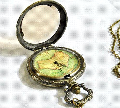 PB006 Vintage Classic Unique Large Specular map pocket fob watch necklace pendent steampunk relogio de bolso for men women