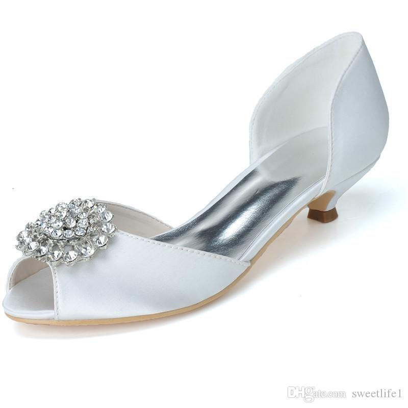 48401035d904 0700 03 Simple Rhinestone Crystal Fashion Low Heel Wedding Dresses Peep Toe  For Women Party Prom Evening Occasion Shoes High Quality The Bridal  Collection ...