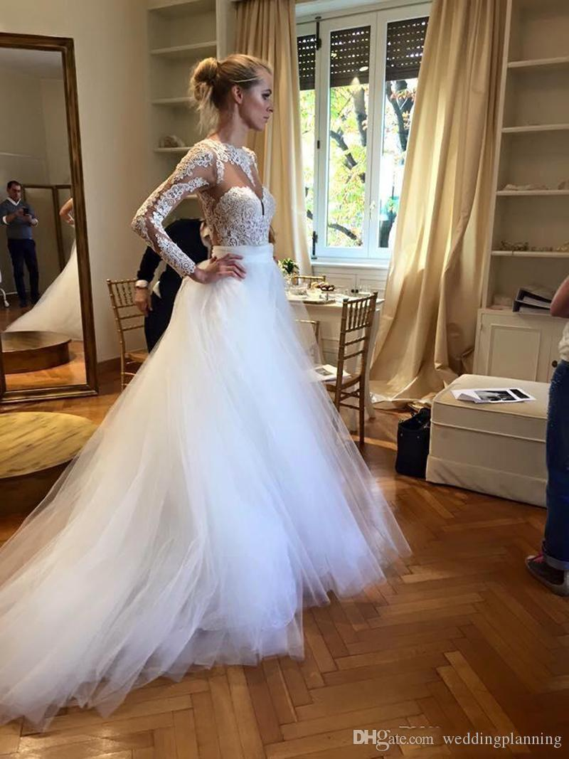 White Long Sleeves 2016 Wedding Dresses Cheap Bateau Lace Appliques Open Back Beach Bridal Dress Sheer Neckline Tulle Tutu Wedding Gowns
