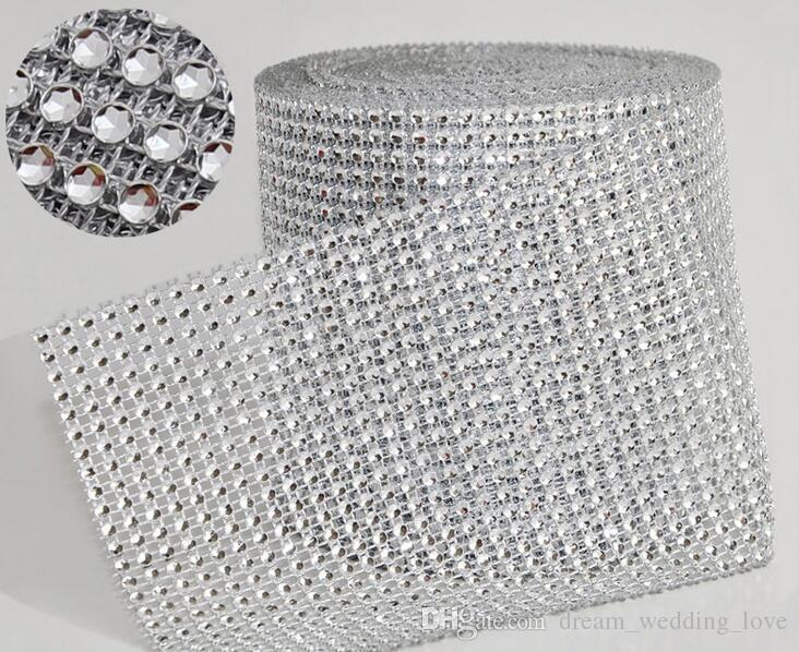 03251a3f40 Wedding Decoration 10yard/roll 4.75 24 Rows manmade Diamond Mesh yards wrap  Rhinestone Ribbon Crystal trim Wrap sparkle bling ribbon WT029