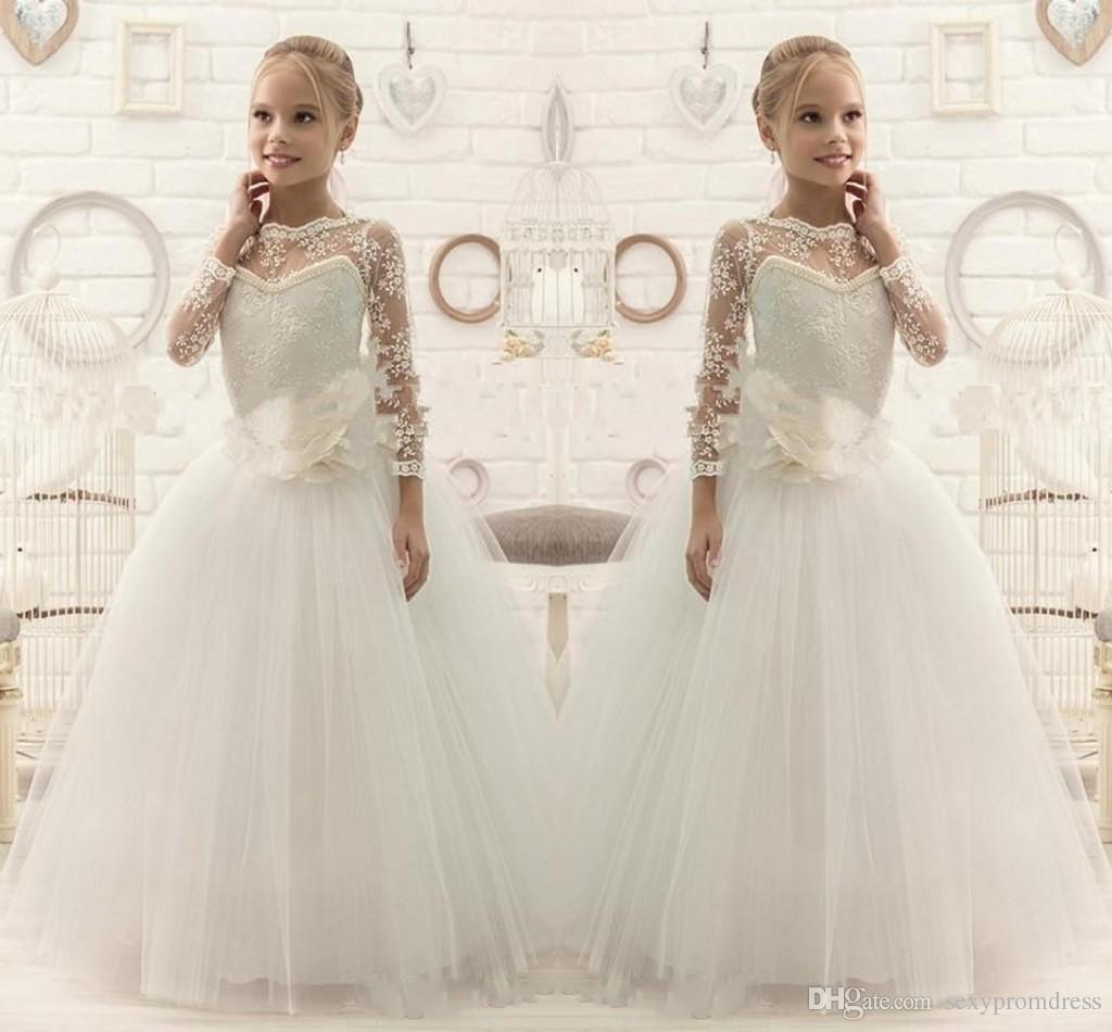 3faa76ddab Lace Sheer Long Sleeve Flower Girl Dresses White Tulle A Line Princess Girls  Pageant Gowns Floor Length Children Communion Party Dresses Flower Girl  Dresses ...
