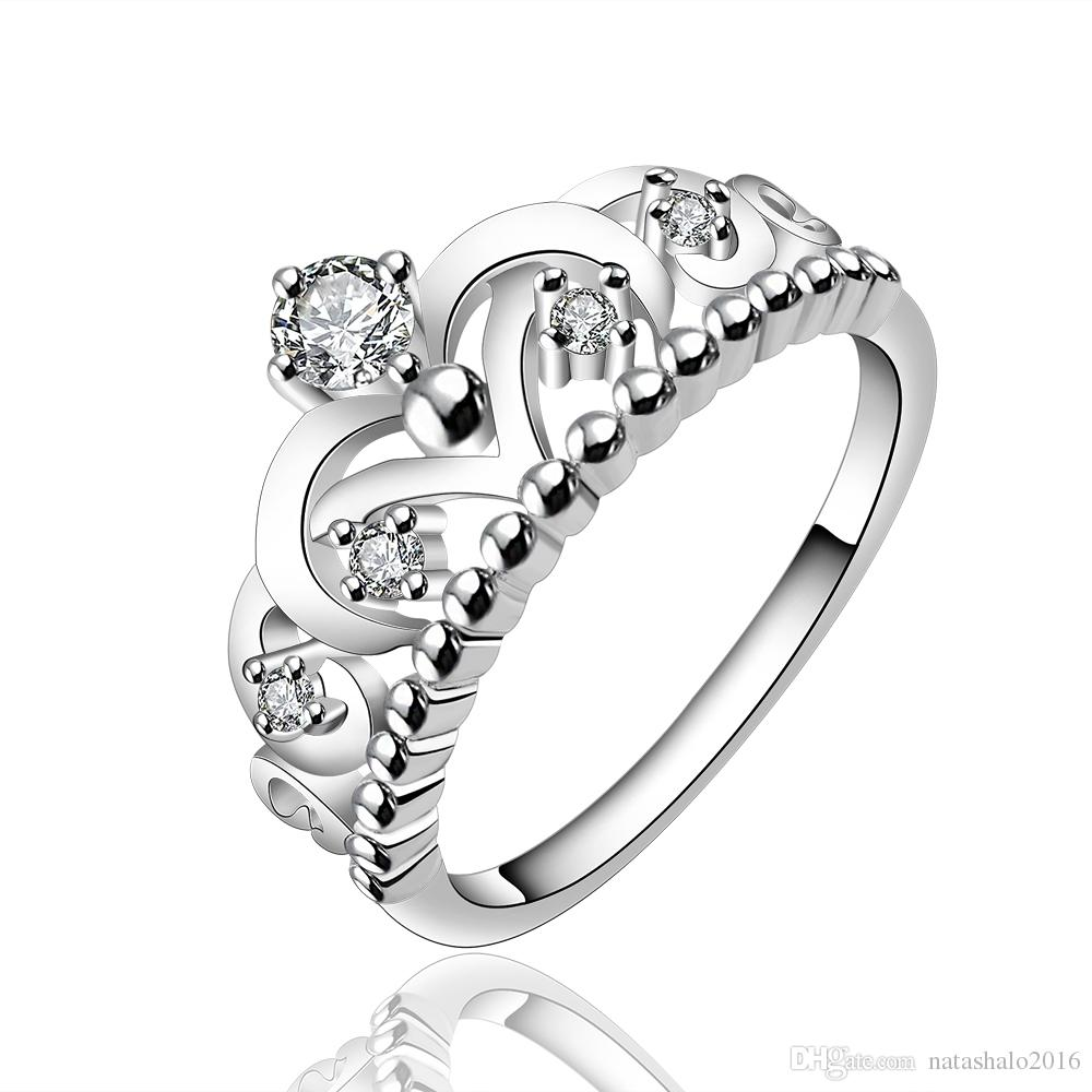 Women Jewelry Style Fashion Silver Crown Midi Ring with Box Imperial Wedding Rings with Gift Boxes Engagement Accessories RG-060