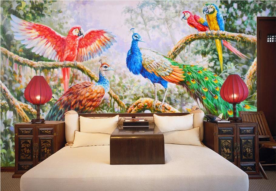Pure hand-painted forest peacock parrots art murals desktop wallpapers in hd