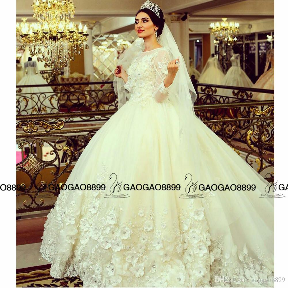 New Muslim Ball Gown Wedding Dresses 2019 Luxury Lace Beaded Applique handmade 3D floral Long Sleeve cathedral arabic Wedding Gowns
