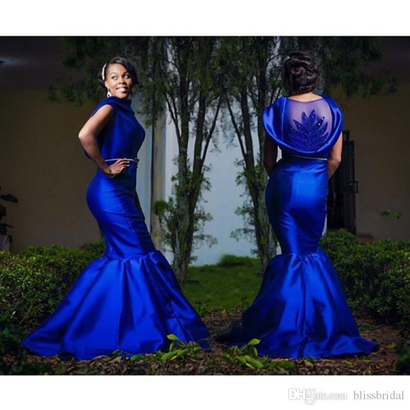 Royal Blue Plus Size Evening Dresses Sexy Back Sheer Beaded Mermaid