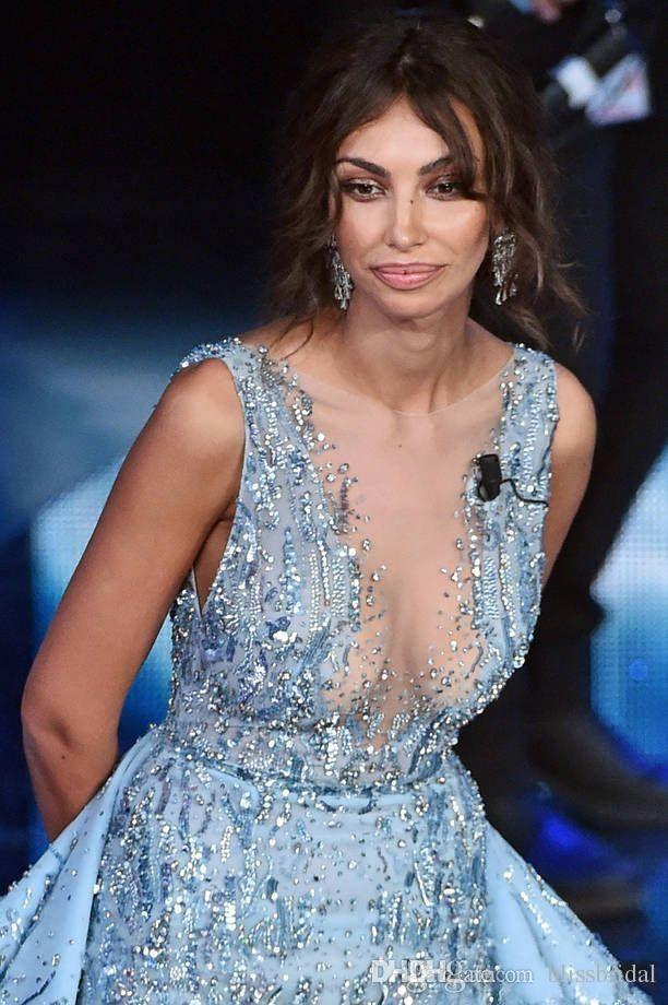 Luxus Zuhair Murad Abendkleider Celebity Red Carpet Hellblau Prom GOWNS Illusion Ausschnitt Perlen Crystal Party Kleider