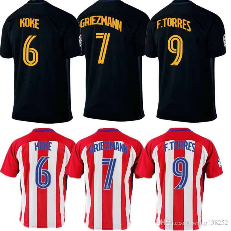 Compre 2016 2017 Atletico Madrid Jersey Griezmann Fernando Torres Camisetas  De Futbol Koke Gabi Jackson Portada Fútbol Camiseta De Alta Calidad A  14.9  Del ... a73977212f2eb