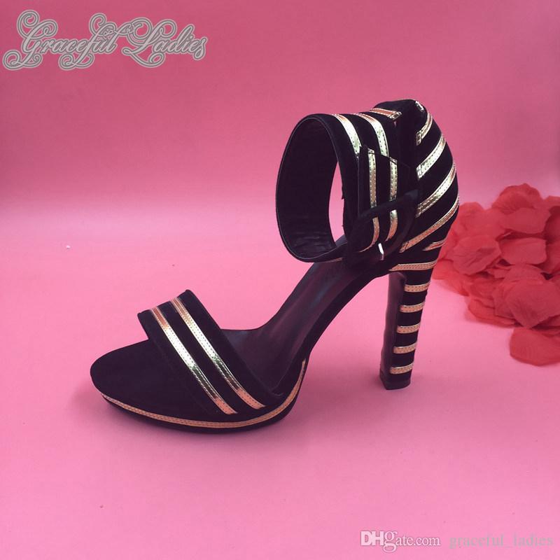 2015 Yenilik Kadın Ayakkabı Ayak Bileği Kayışı Kare Yüksek Makara Topuklu Altın Ve Siyah Şerit Sandalet Platformu Yaz Parti Ayakkabıları Made-Sipariş