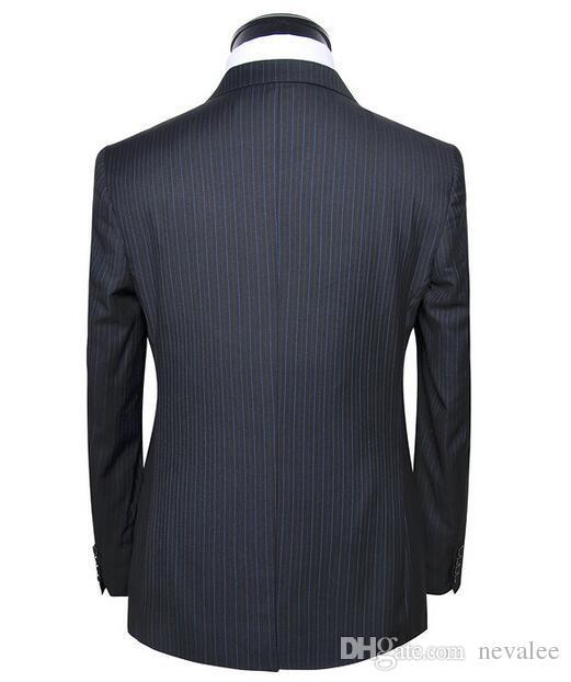 Takım elbise ceket lüks yün çizgili tasarımcı son kat ve pantolon ofis takımları marka erkekler slim fit iş blazers
