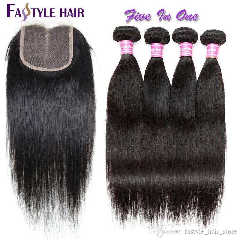 Indian Straight Extension 4 Bundles With Swiss Lace Closure UNPROCESSED Brazilian Peruvian Malaysian Virgin Human Hair Weave Wefts