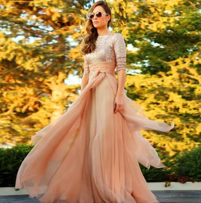 두바이 긴 이브닝 드레스 빈티지 높은 목 반 소매 샴페인 핑크 쉬폰 및 스팽글 탑 바닥 길이 이슬람 카프 탄 Vestidos
