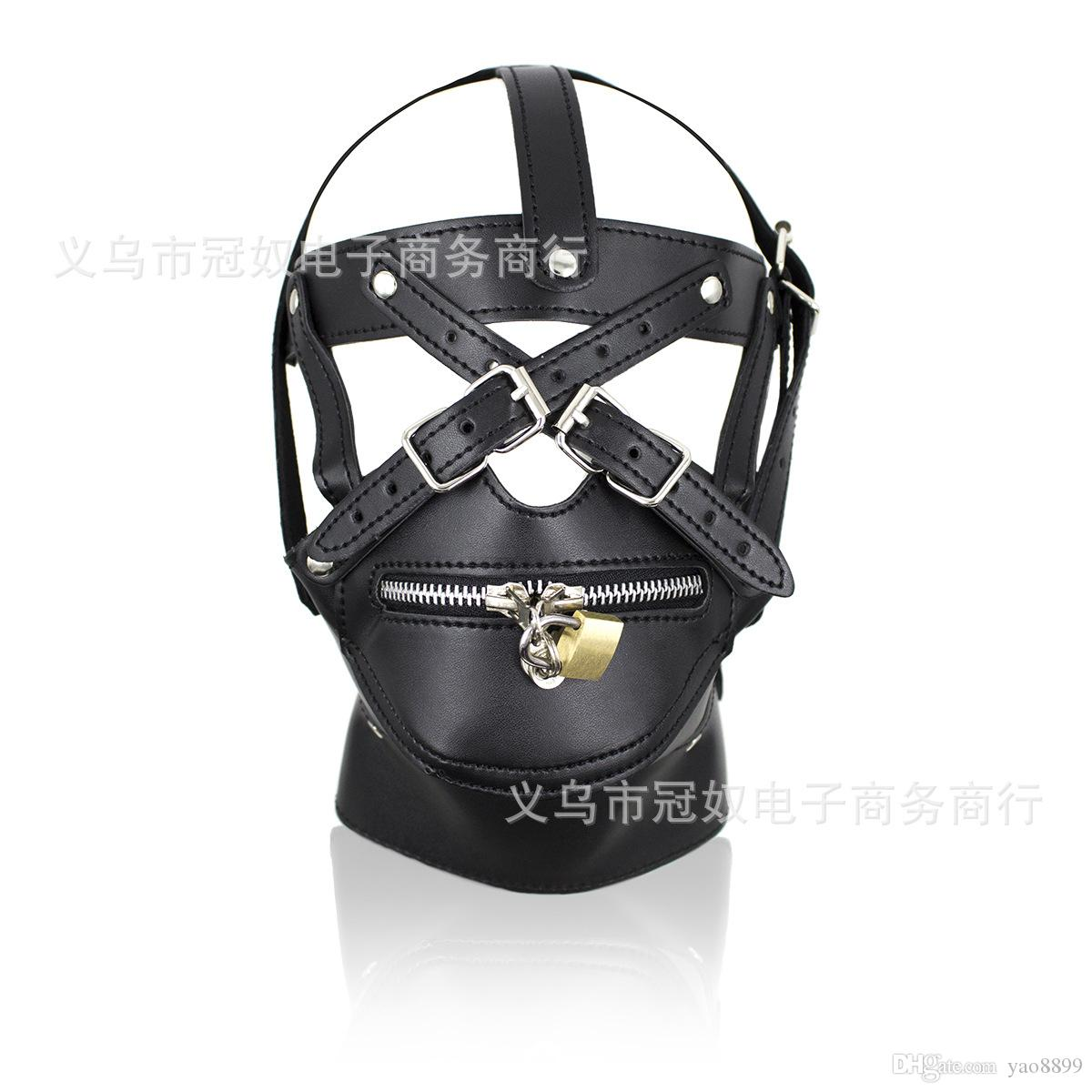 BDSM Sex Toys Black Leather Head Harness With Muzzle Leather Muzzle Bondage Restraint Gear Adult Sex Product S778