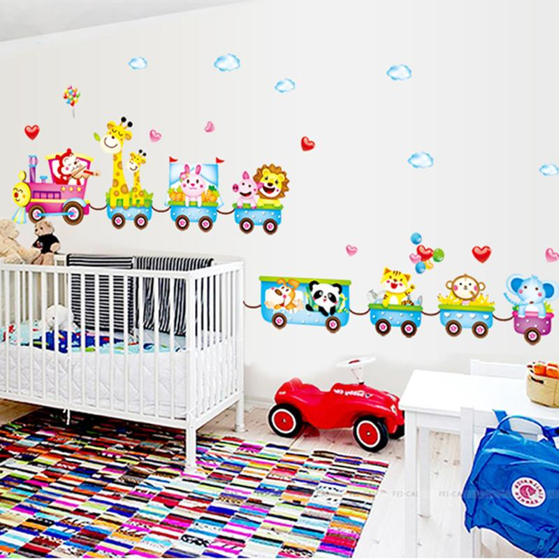 Cartoon Train Animal Vinyl Removable Decals For Kids Nursery Bedroom Child  Living Room Bathroom Decor Mural Pvc Wall Sticker Art Music Wall Decals My  Wall ...