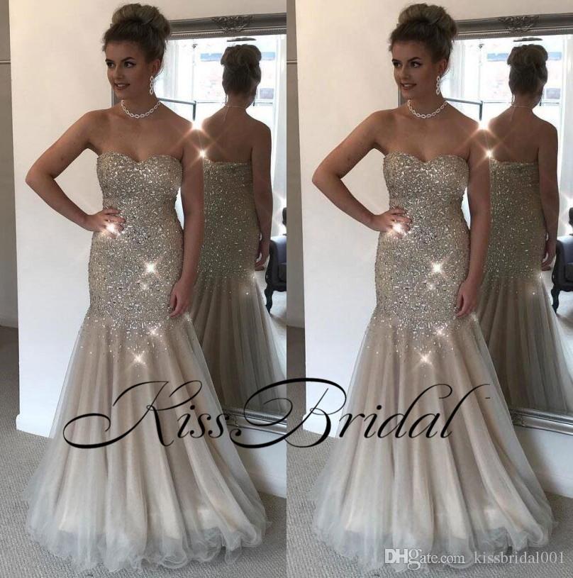 Shinny Crystal 2018 Prom Dresses Silver Grey Mermaid Formal ...