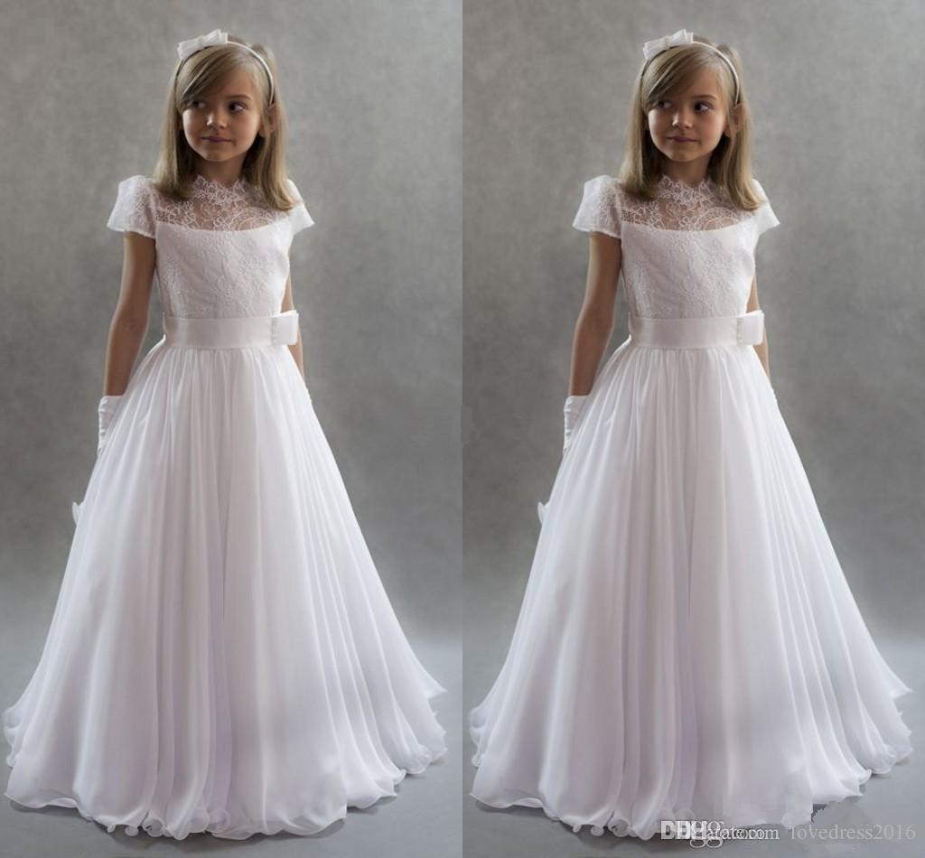 순수한 흰색 시폰 긴 친교 드레스 샷시 레이스 짧은 소매 지퍼 뒤로 결혼식을위한 작은 꽃의 소녀 드레스