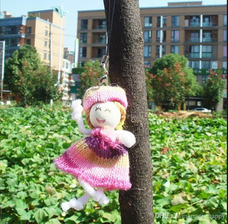 Girl Doll Crochet Appliques Decor di nozze Decor artigianale Mix Miscelare FAI DA TE Bambole Doll Doll Phone Mobile Hang ACT Il ruolo Offing della bambola della lana mini bambola del sesso
