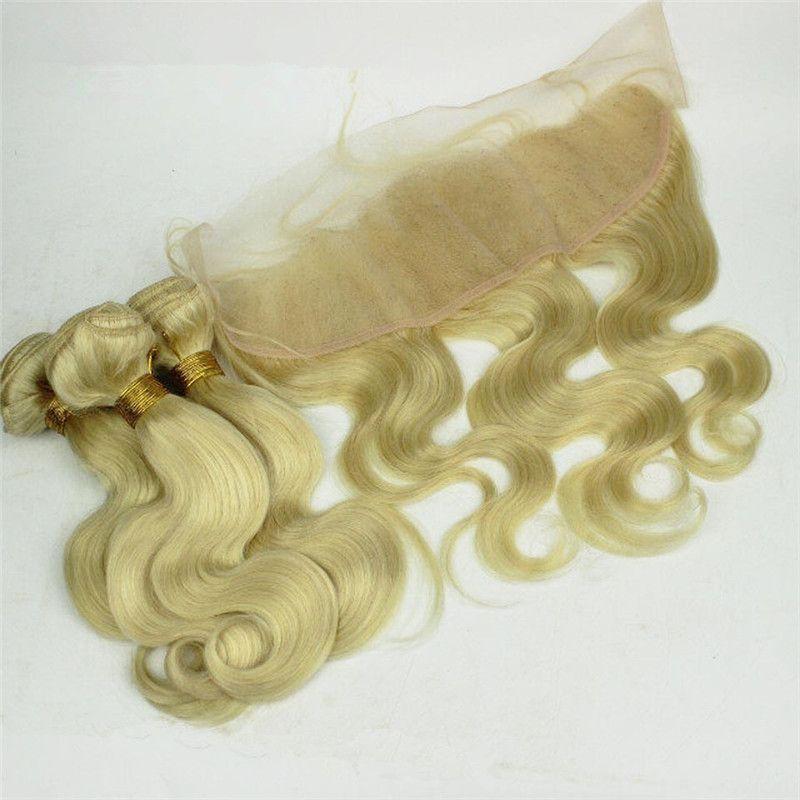 # 613 Blonde brasilianische Haare spinnt mit Frontals Platinum Blonde 3 Bundles mit 13 x 4 Spitze Frontal 4 Stück viel Körperwelle Blonde Haare mit Frontals