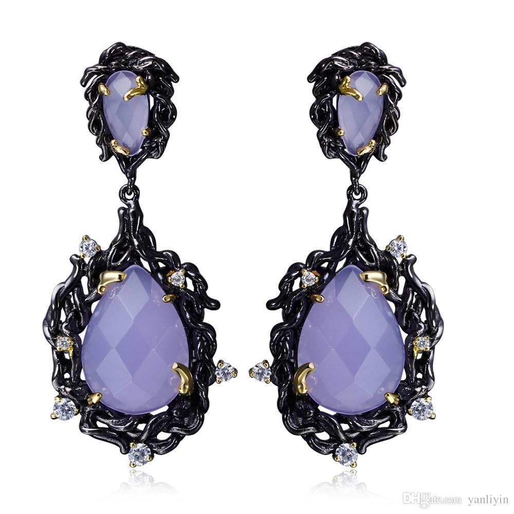 2018 Large Teardrop Crystal Purple Stone Long Chandelier Earring In Black Gold Plated Big Classic Earrings From Yanliyin 14 18 Dhgate Com