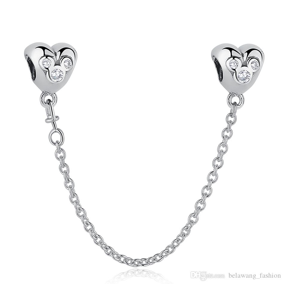 b916de2fe 2019 BELAWANG 925 Sterling Silver Heart Shape Safety Chain Cartoon Charm  Beads With Clear CZ Fit Pandora Charm Bracelet DIY Jewelry Making From ...