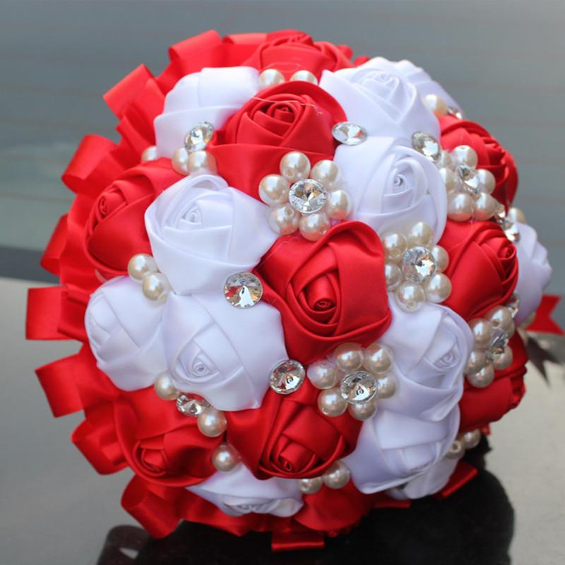 White Red Rose Flower Silk Crystal Pearl Brooch Wedding Bridal ...