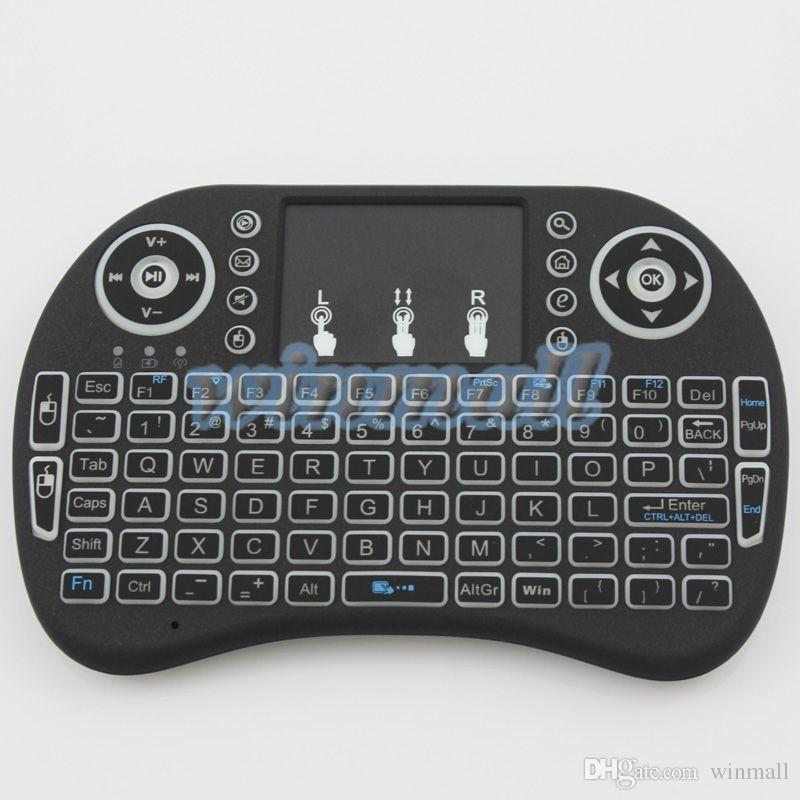 Rii I8 Smart Fly Air Mouse Retroiluminación Remota 2.4 GHz Teclado Inalámbrico Control Remoto Panel Táctil Para Android Box MX3 M8S MXQ pro