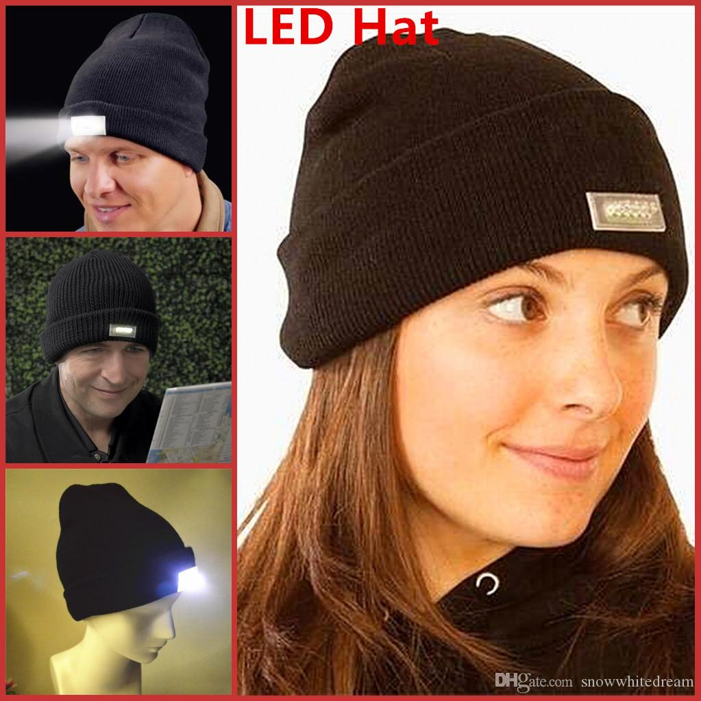 f54bd859 5 LED light Hat Winter Warm Beanie Angling Hunting Camping Running Black Caps  LED Glowing Knitted Caps Glowing Hat Glow Knitting Hat