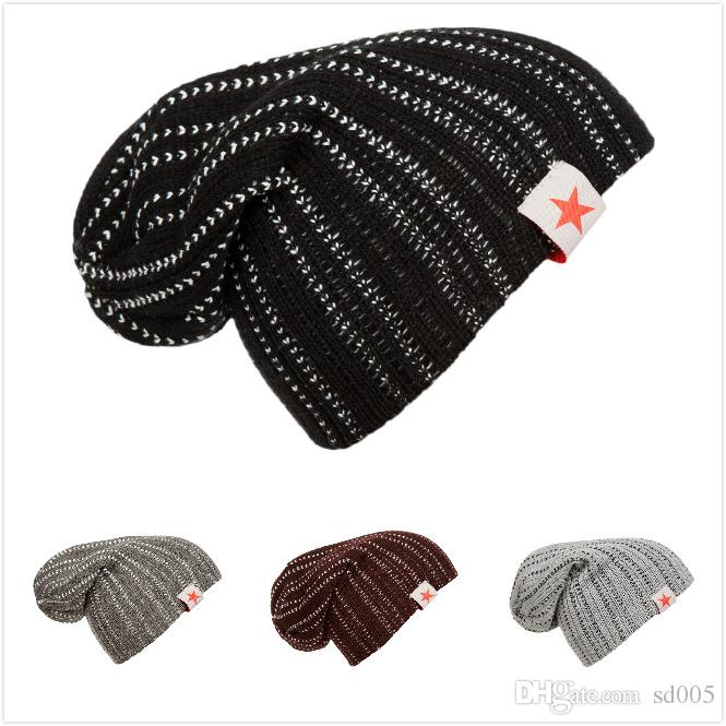 Double Stripes Beanie Five Pointed Star Label Hedging Cap Trendy ... 2483a5550eb6
