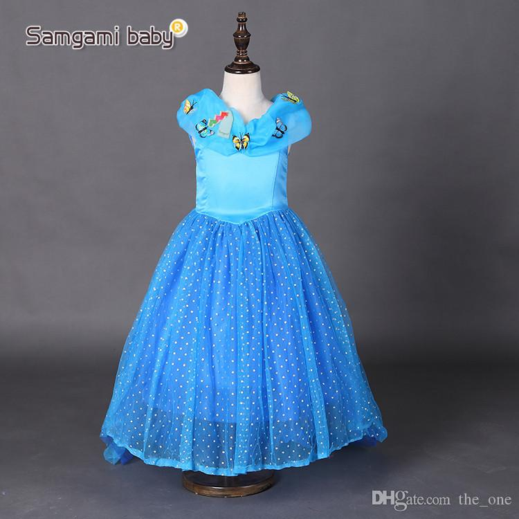 27c711137 2019 Baby Girl Cinderella Butterfly Dresses Children Girls Party ...