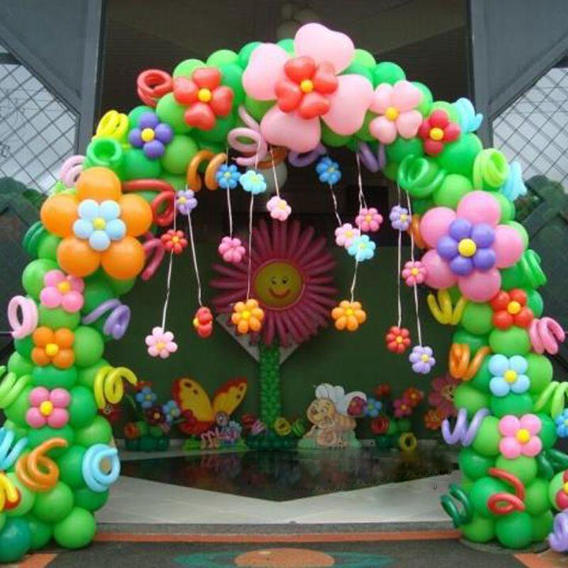 Baby child birthday party decoration balloon arches for Bed decoration with flowers and balloons