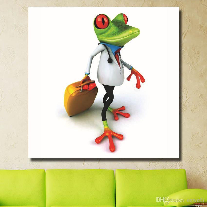 Бесплатная доставка высокое качество дешевая цена лягушка современная картина маслом на холсте ручной работы настенные рисунки для спальни