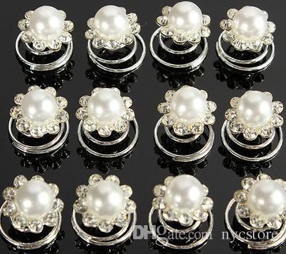 Crystal Wedding Bridal Hair Pins Twists Coils Flower Swirl Spiral Hairpins