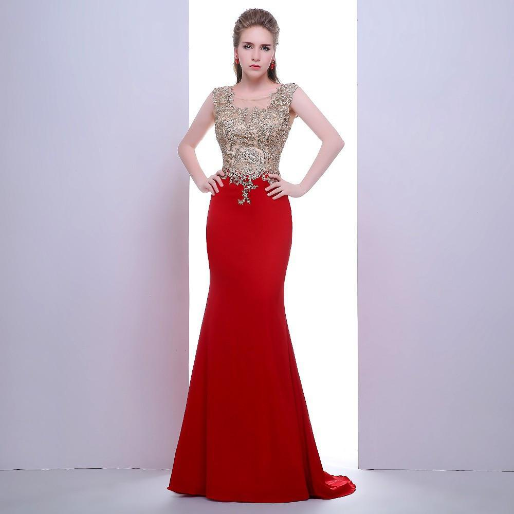 2019 New noble robes dubai collar decals sexy red chiffon mermaid dress transparent back women love beautiful dress Evening Gown 374