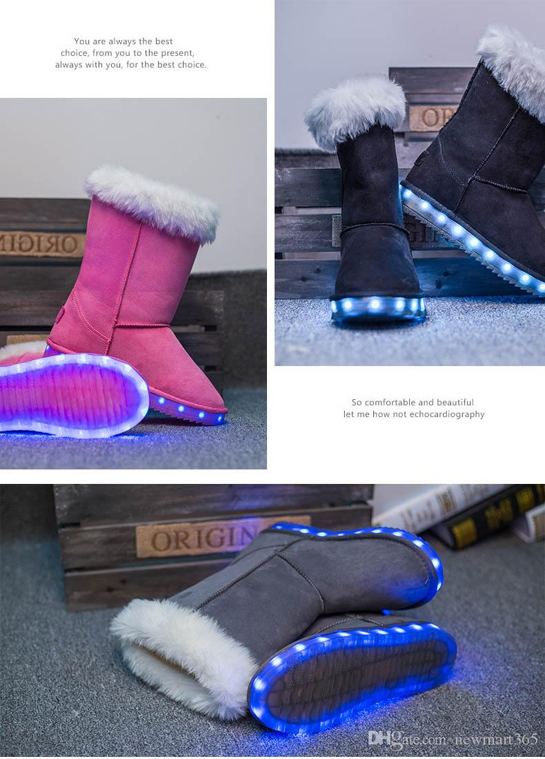 LED Snow Boots invernali Black Light Up Shoes Luminoso da donna USB Ricarica Colorful Glowing Shoes Short Floss Snow Boots