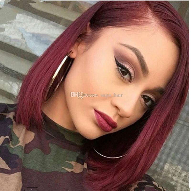 Short Burgundy Bob Full Lace Human Hair Wigs 99j Wine Red
