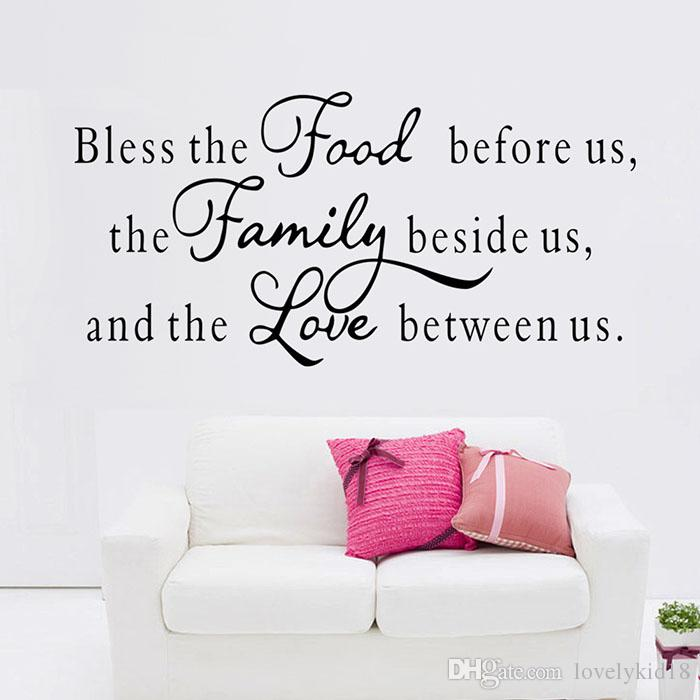Bless Food Family Love Wall Stickers Religious Quotes Decals Home Wallpaper For Dining Room Art Removable Sticker