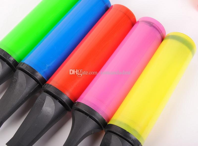 Portable Plastic Hand Pushing Balloon Pump Candy Color Air Inflator Pump Festival Supplies Wedding Decoration + DHL